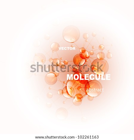Vector orange molecule background - stock vector