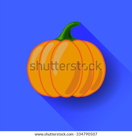 Vector Orange Pumpkin Icon Isolated on Blue Background. Long Shadow. Symbol of Halloween - stock vector