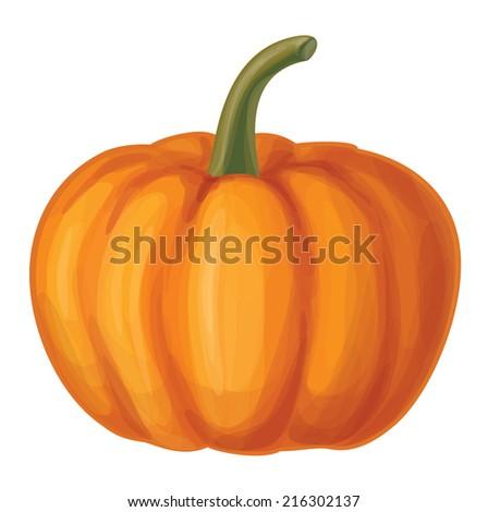 Vector orange pumpkin isolated. - stock vector
