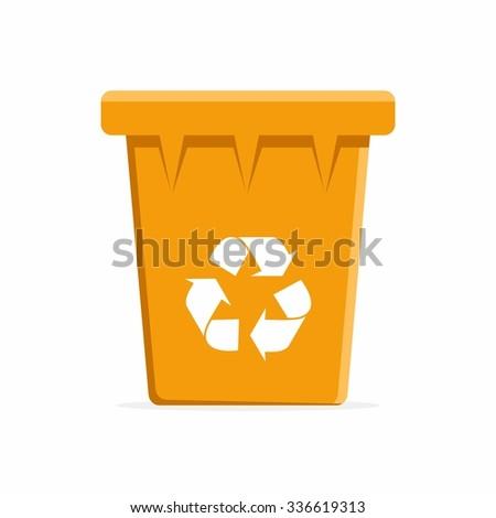 Vector Orange Recycle Bin for Trash and Garbage. Vector Illustration - stock vector