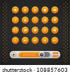 Vector orange round media player buttons and audio player isolated on background - stock vector