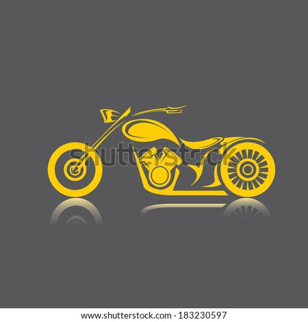vector orange Silhouette of classic motorcycle. motorcycle flat icon - stock vector