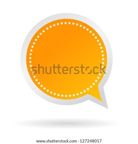 Vector orange speech sticker - stock vector