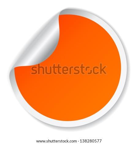 Vector orange sticker - stock vector