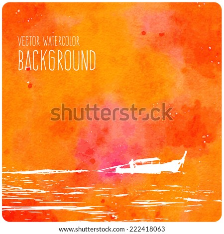 Vector orange watercolor background with a thai boat motoring in the waves - stock vector