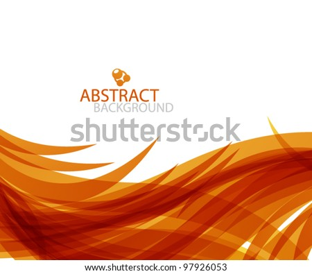 Vector orange wave fire abstract background - stock vector