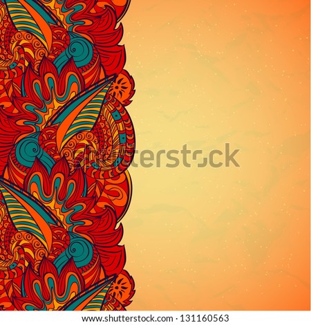 Vector oriental paisley border design template - stock vector