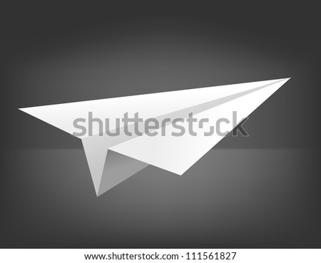 Vector origami airplane on black background. Eps 10 - stock vector