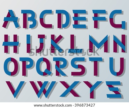 VECTOR ORIGAMI ALPHABET STYLE WITH SHADOWS BLUE AND VIOLET - stock vector