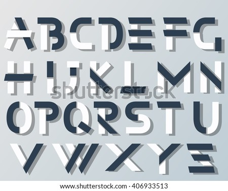 VECTOR ORIGAMI ALPHABET STYLE WITH SHADOWS BLUE AND WHITE - stock vector