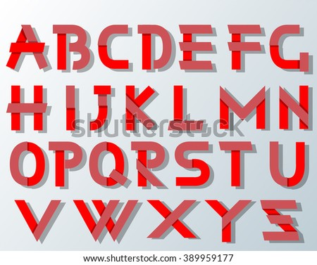 VECTOR ORIGAMI ALPHABET STYLE WITH SHADOWS RED - stock vector