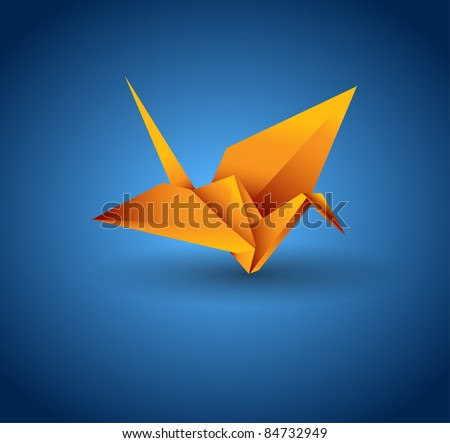 vector origami bird - stock vector