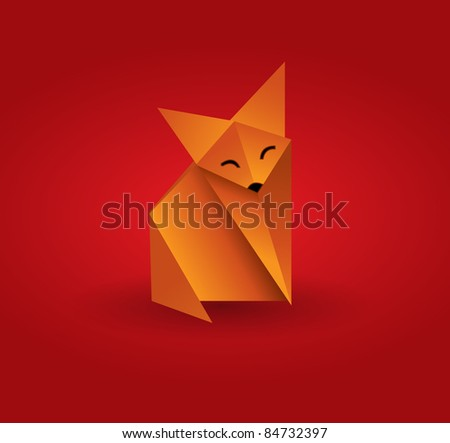 Vector origami fox - stock vector