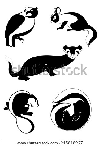 Vector original art animal silhouettes collection for design  - stock vector