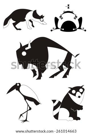 Vector original art animal silhouettes collection for design  - stock vector