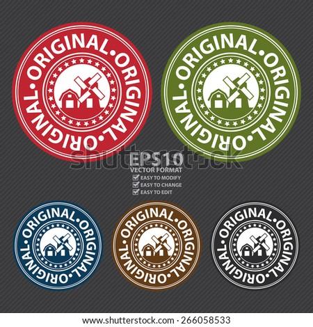 Vector : Original Badge, Label, Sticker, Banner, Sign or Icon - stock vector