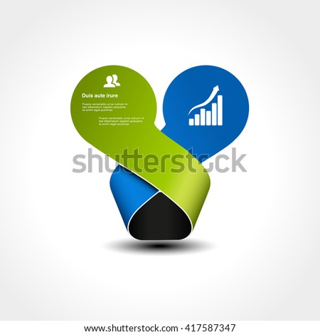 Vector original infographic element. Circles with bent ribbon. Place for your text. Green and blue color.  - stock vector