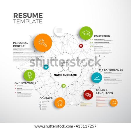 Vector original minimalist cv / resume template - creative profile version - stock vector