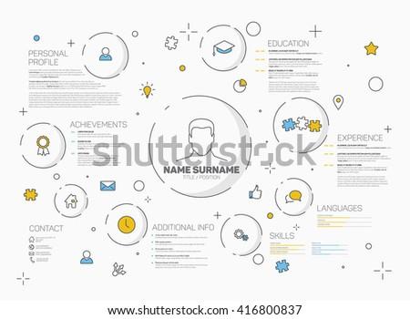 Vector original minimalist cv / resume template - creative version with thin line icons. Creative resume. Creative CV. Creative resume design. Creative personal profile. Creative CV layout. Resume. - stock vector