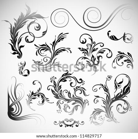 Vector Ornament Flowers Vintage Design Elements - stock vector