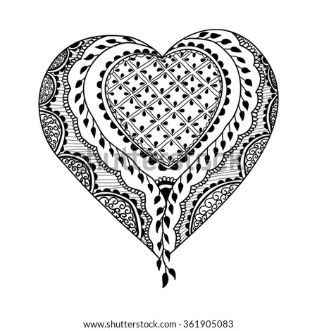Vector ornament in indian style. Mehndi ornamental heart. Hand drawn ethnic pattern. Decorative element for henna design. Valentines heart in zentangle style - stock vector