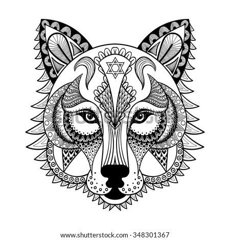 Coloring Pages Hand Drawn Totem Illustration Isolated On Background