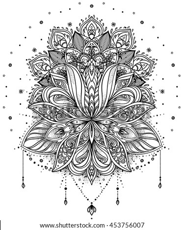 Vector ornamental Lotus flower, ethnic art, patterned Indian paisley. Hand drawn illustration. Invitation element. Tattoo, astrology, alchemy, boho and magic symbol. - stock vector