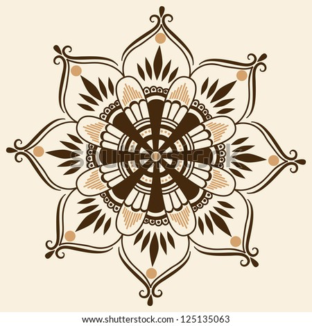 Vector ornamental round lace with damask and arabesque elements - stock vector