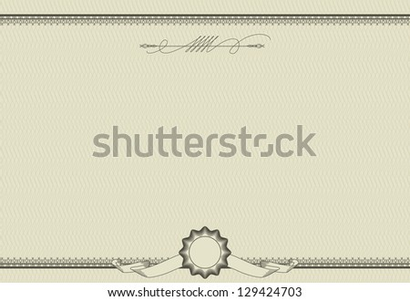 Vector ornamental template of  detailed certificate. Retro style - stock vector
