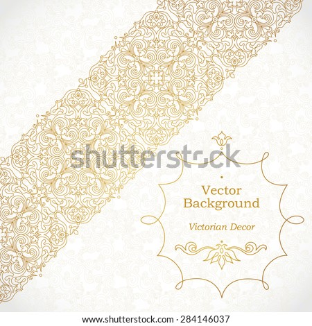Vector ornate diagonal border in Eastern style. Gorgeous element for design, place for text. Ornamental vintage pattern for wedding invitations, birthday and greeting cards. Traditional outline decor. - stock vector