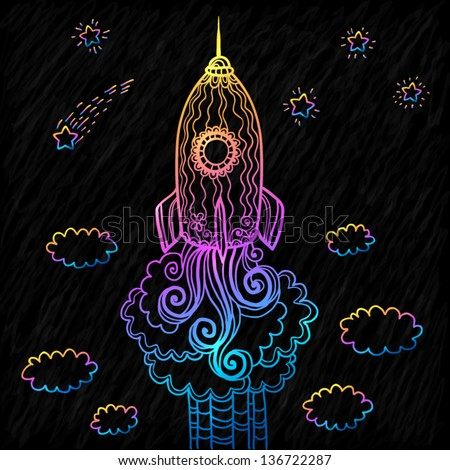 Vector ornate doodles rocket starting to space - stock vector