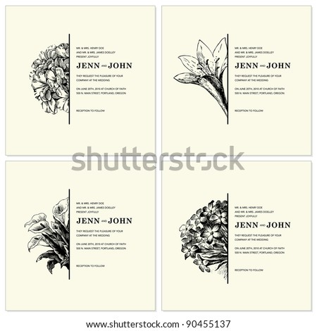 Vector Ornate Floral Half Frames Set. Easy to edit. Perfect for invitations or announcements. - stock vector