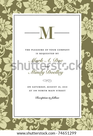 Vector ornate frame and floral background. Easy to edit. Perfect for invitations or announcements. - stock vector