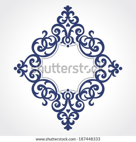 Vector ornate frame in Victorian style. Ornate element for design. Place for text. Contrast ornamental pattern for wedding invitations and greeting cards. Traditional floral decor. - stock vector