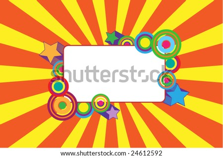 Vector ornate frame on burst background - stock vector