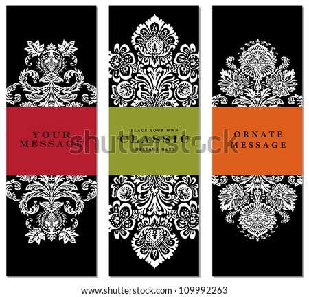 Vector Ornate Frame Set. Easy to edit. Perfect for labels, invitations, or announcements. - stock vector