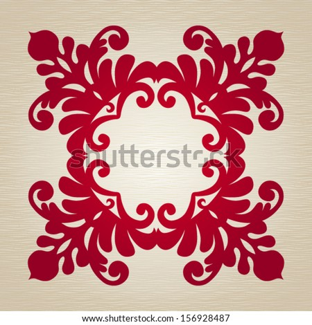 Vector ornate frame with ornament  in ethnic style. Element for design. It can be used for decorating of invitations, greeting cards, decoration for bags and clothes, at tattoo creation. - stock vector