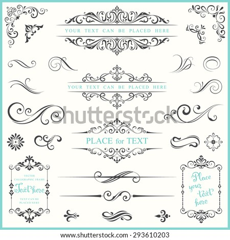 Vector ornate frames and scroll elements. - stock vector
