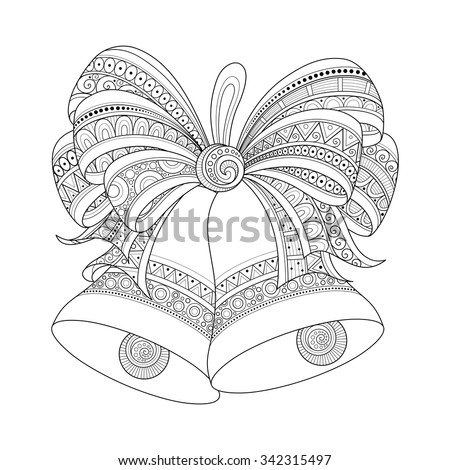 Vector Ornate Monochrome Christmas Golden Bells with Red Bow. Patterned Objects for Coloring Books. New Year and Christmas Template - stock vector