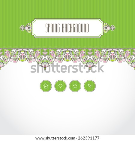 Vector ornate seamless border in Eastern style. Web page design template, web site design. Bright floral element, place for text. Easy to use, layered. Ornamental vintage frame. Traditional decor. - stock vector
