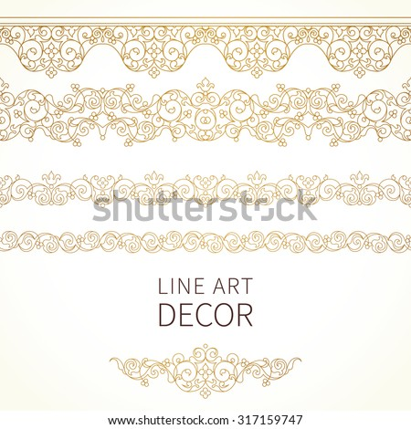 Vector ornate seamless borders in Eastern style. Floral outline element for design. Line art vintage frame for invitations, birthday and greeting cards, certificate. Oriental golden decor. - stock vector