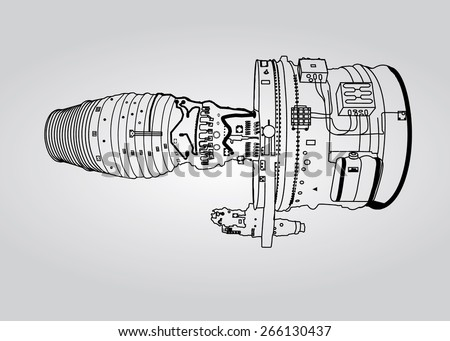 Vector outline airplane engine plan - stock vector