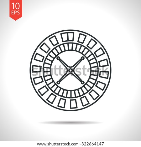 Vector outline classic grey casino roulette wheel icon on white background  - stock vector