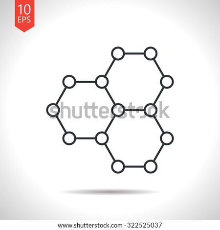 Vector outline classic grey graphene icon on white background . Science illustration  - stock vector