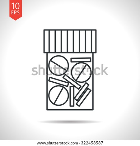 Vector outline classic grey tablet bottle on white background . Health icon  - stock vector