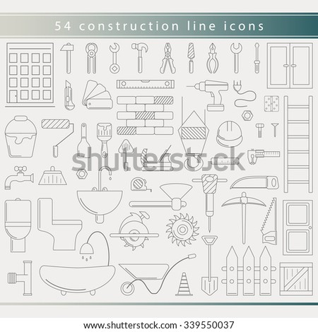 Vector outline construction and instruments icons set - building , home repair worker tools in trendy thin line style. Hammer, saw, wrench, drill, helmet, screwdriver, pliers, axe, screw, clamp - stock vector