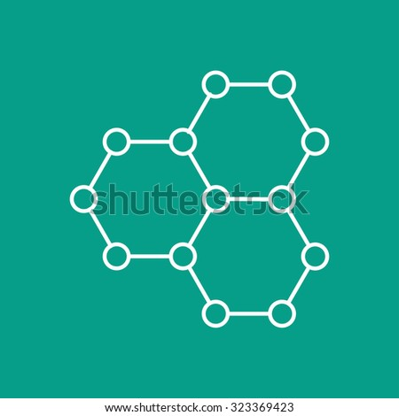 Vector outline graphene icon on color background . Science illustration  - stock vector