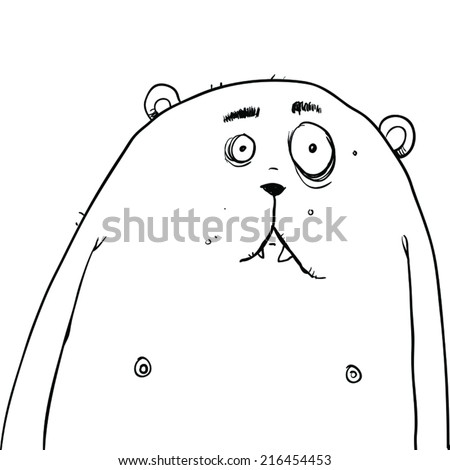 Vector outline illustration of a sad looking bear type creature. - stock vector