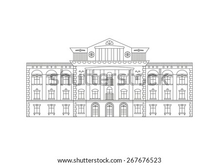 Vector outline illustration of building Facade. Historical mansion viewed from front elevation isolated on white background. Coloring book page for adults and children. Black outline on white. - stock vector