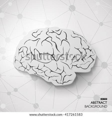 Vector outline illustration of human brain healthcare design or idea of logo - stock vector